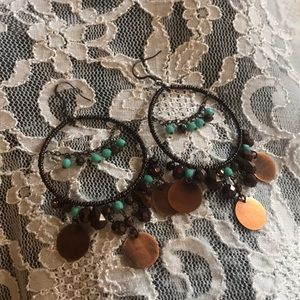 Coper and turquoise style earrings